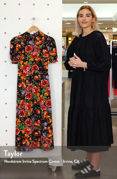 Floral Print Midi Tea Dress, sales video thumbnail