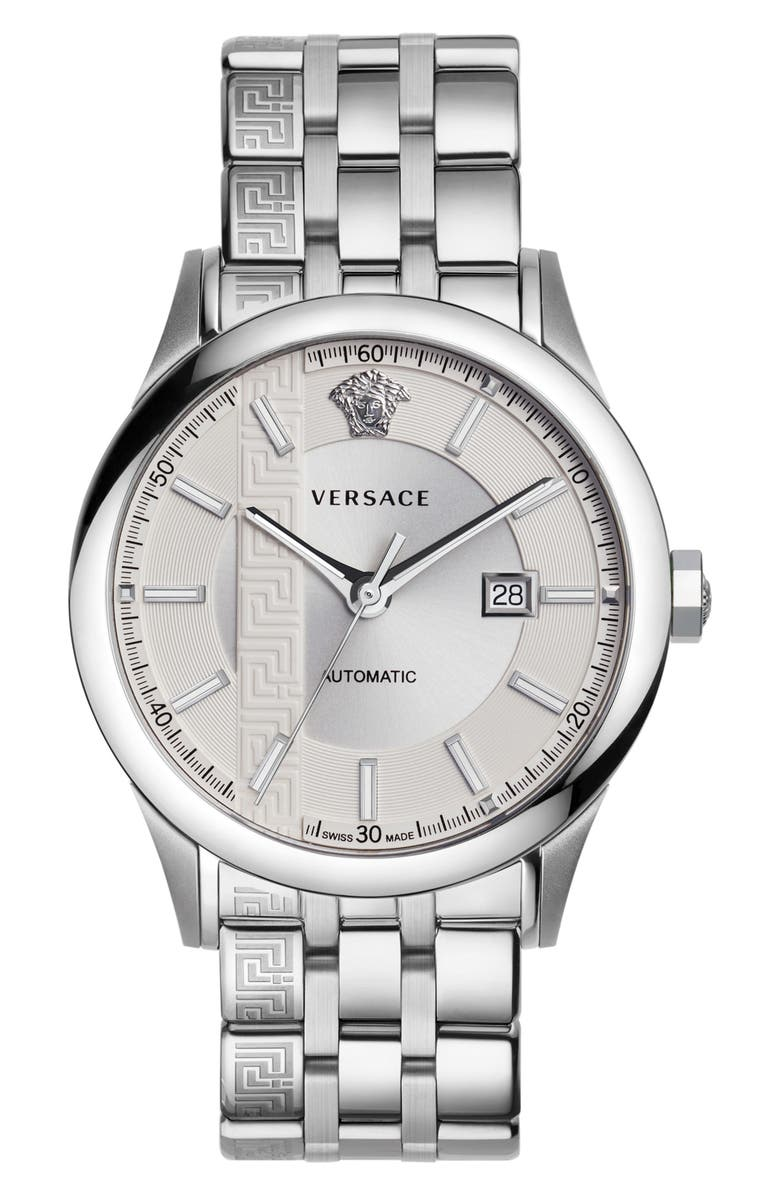 VERSACE Aiakos Automatic Bracelet Watch, 44mm, Main, color, 040