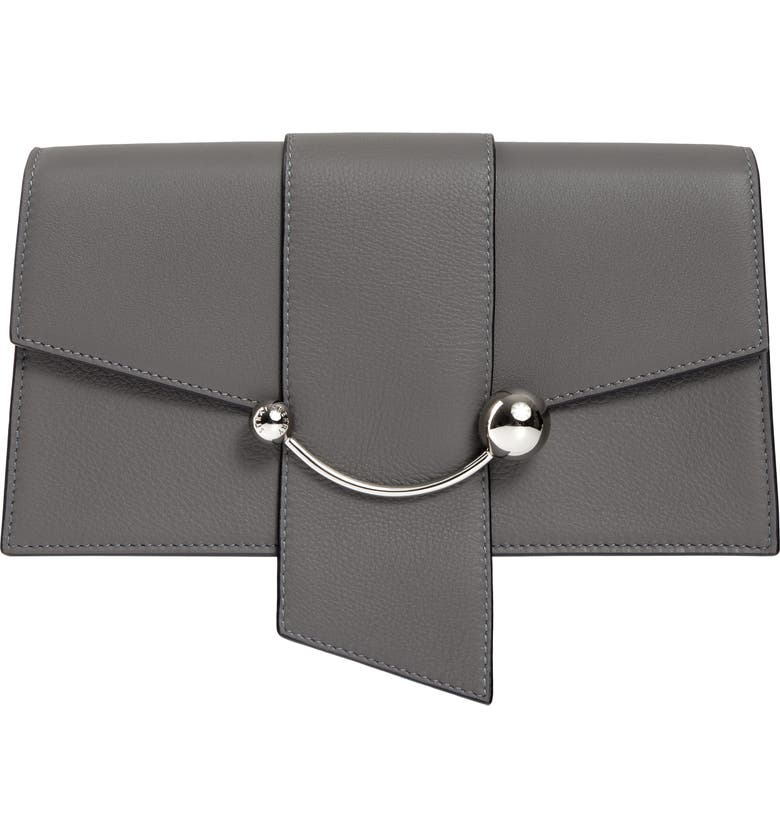STRATHBERRY Mini Crescent Leather Clutch, Main, color, SLATE
