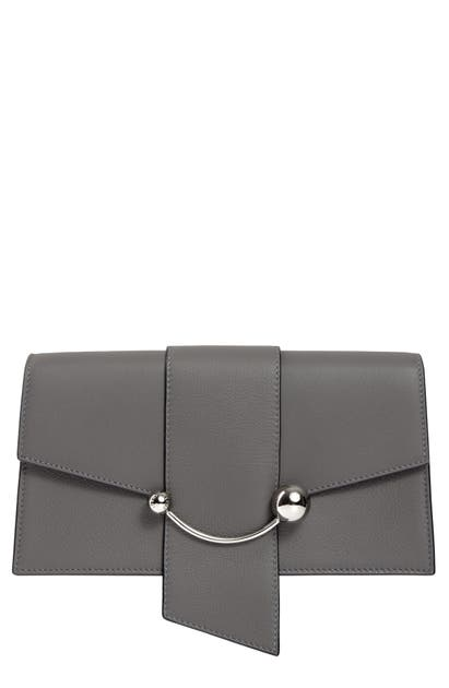 Strathberry Mini Crescent Leather Clutch In Slate