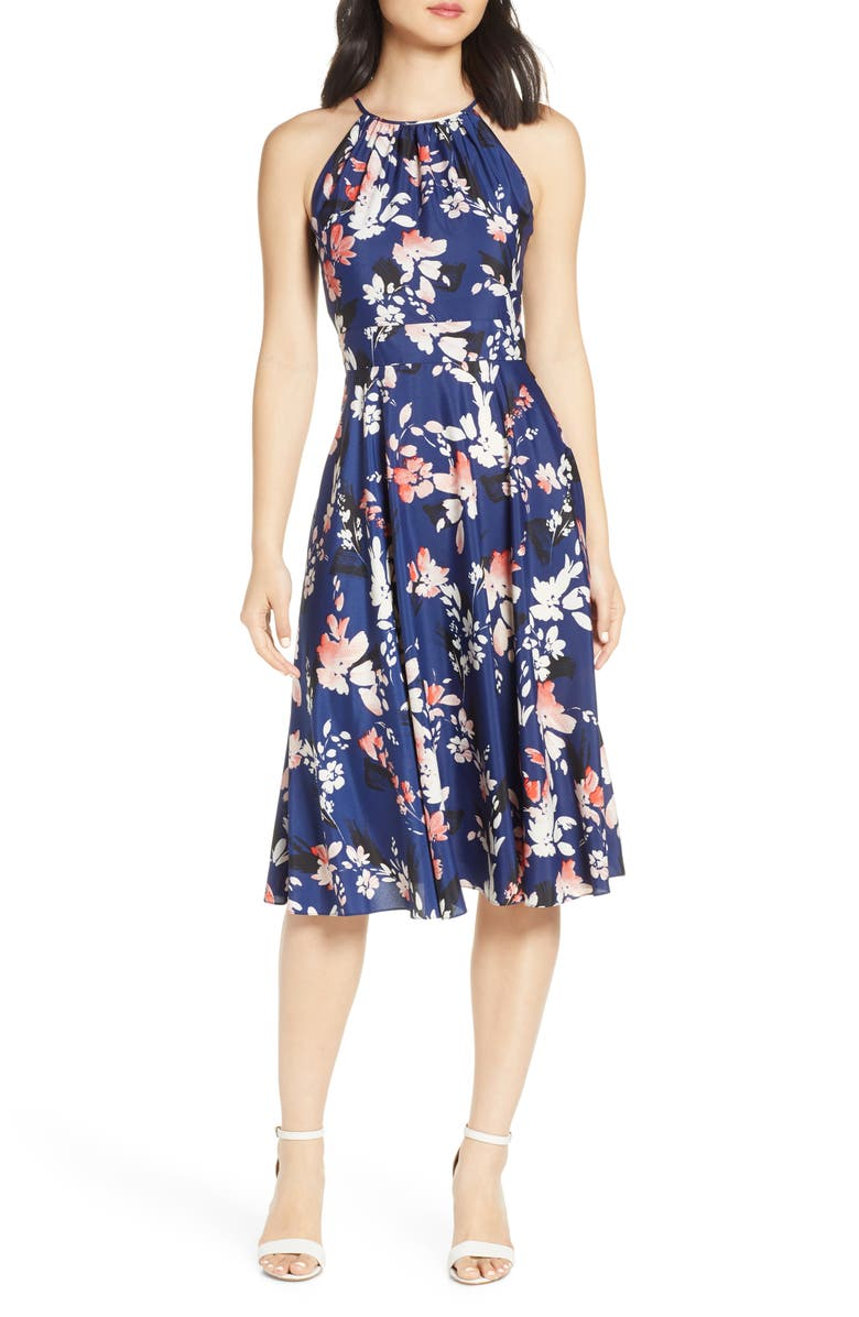 ELIZA J Floral Halter Crêpe de Chine Midi Dress, Main, color, NAVY