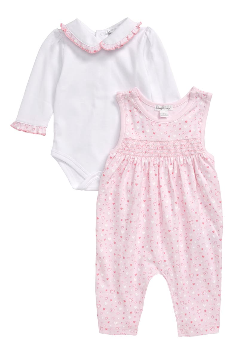 KISSY KISSY Heart Print Smocked Jumpsuit & Long Sleeve Bodysuit Set, Main, color, PINK/ WHITE