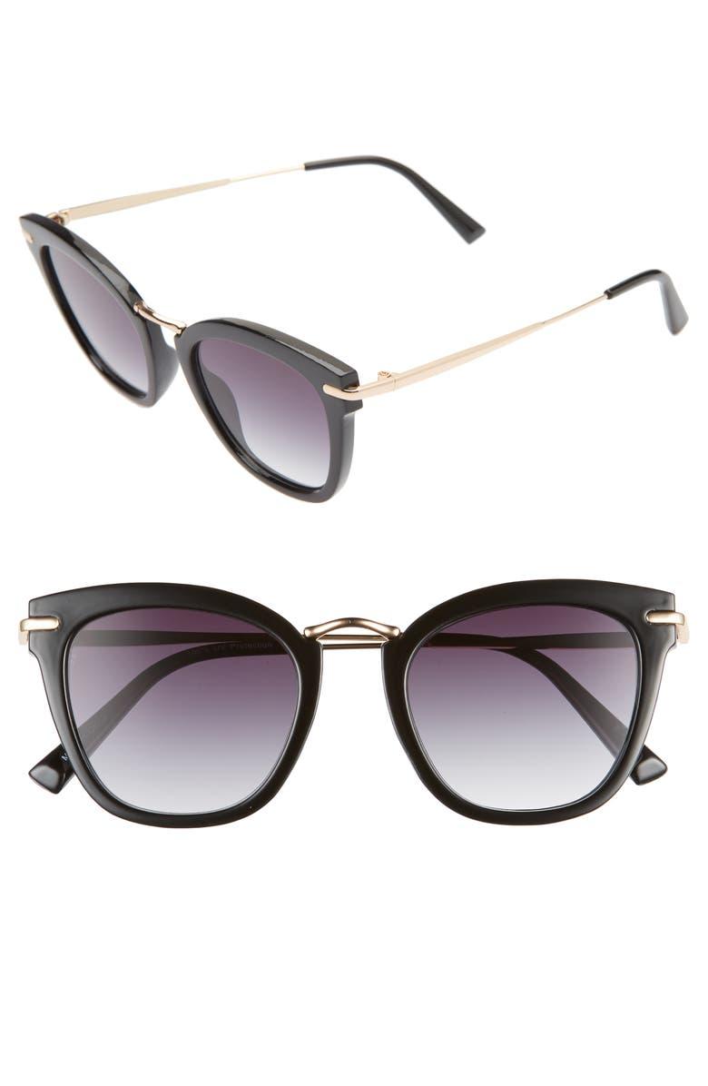 BP. 48mm Cat Eye Sunglasses, Main, color, BLACK