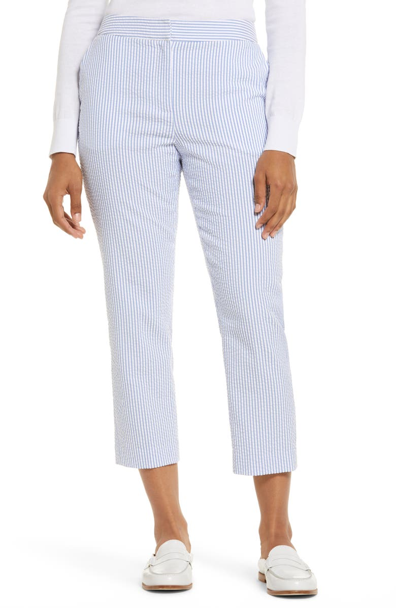 1901 Seersucker Crop Pants, Main, color, BLUE- WHITE SEERSUCKER