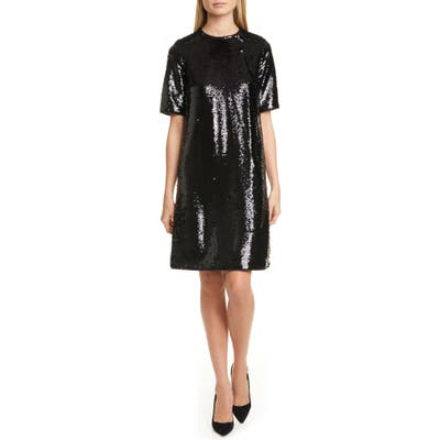 Boss Dettia Short Sleeve Sequin Shift Dress, Black