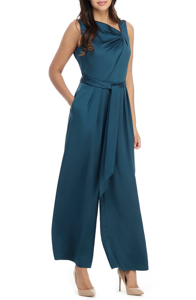 MAGGY LONDON Asymmetrical Wide Leg Satin Jumpsuit, Main, color, NITE PINE