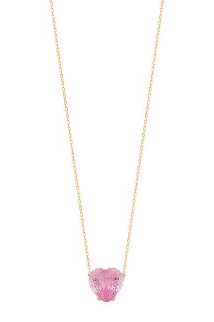 Image of Gabi Rielle 14K Gold Vermeil Pink Crystal Heart Pendant Necklace