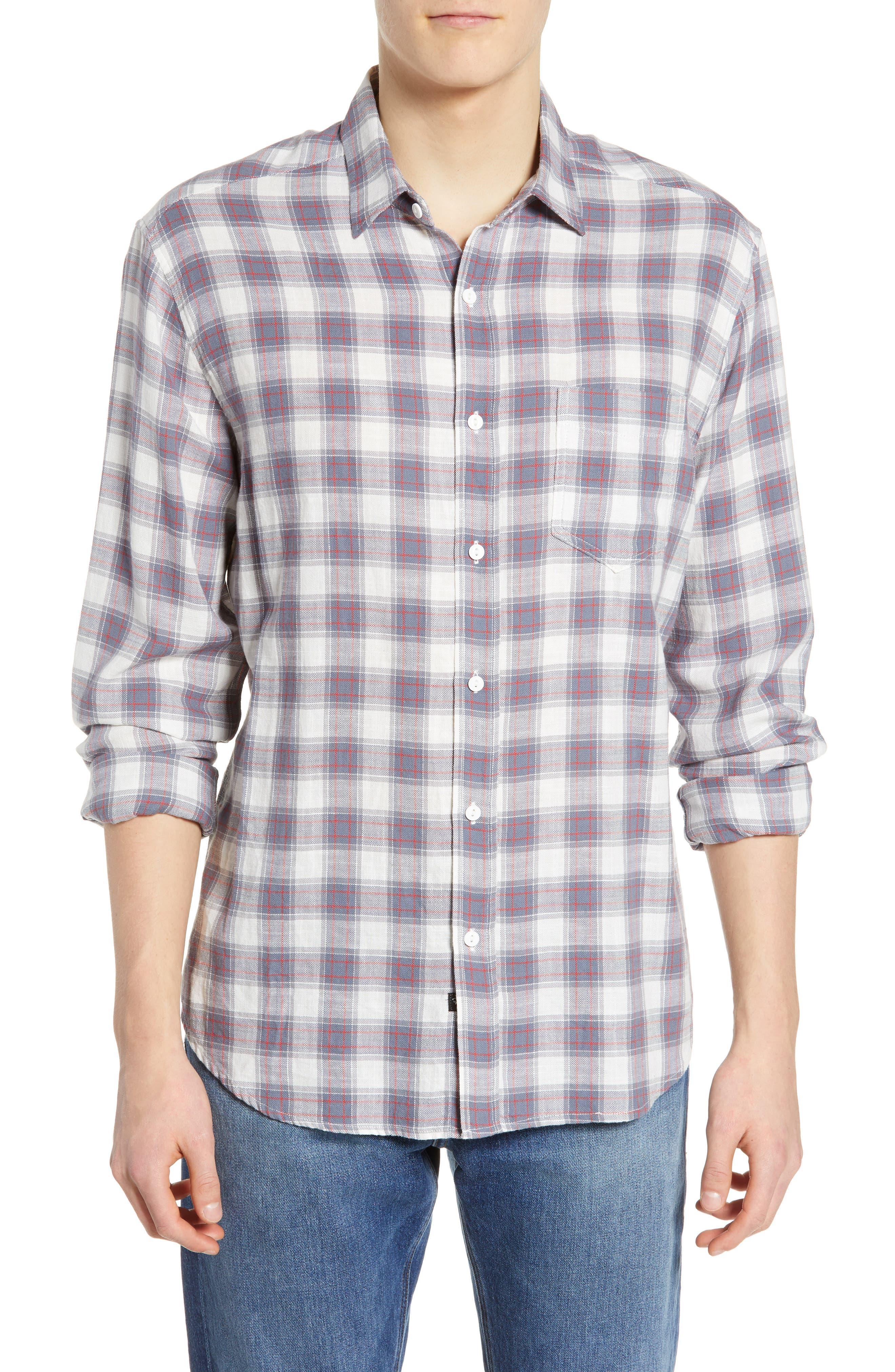 Wyatt Regular Fit Plaid Sport Shirt, Main, color, OCEAN TANGERINE