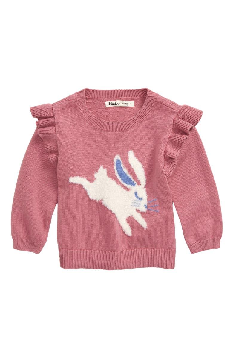 HATLEY Sweet Bunny Ruffle Sleeve Sweater, Main, color, PINK
