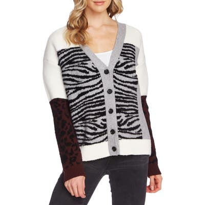 Vince Camuto Mixed Print Cardigan, Grey