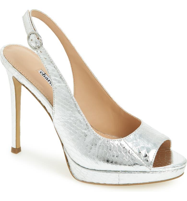 CHARLES DAVID Stills Platform Sandal, Main, color, SILVER SNAKE PRINT LEATHER