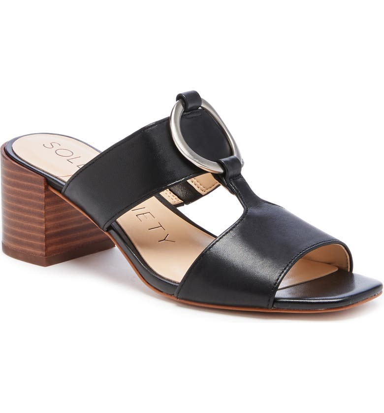 SOLE SOCIETY Slonah Slide Sandal, Main, color, BLACK LEATHER