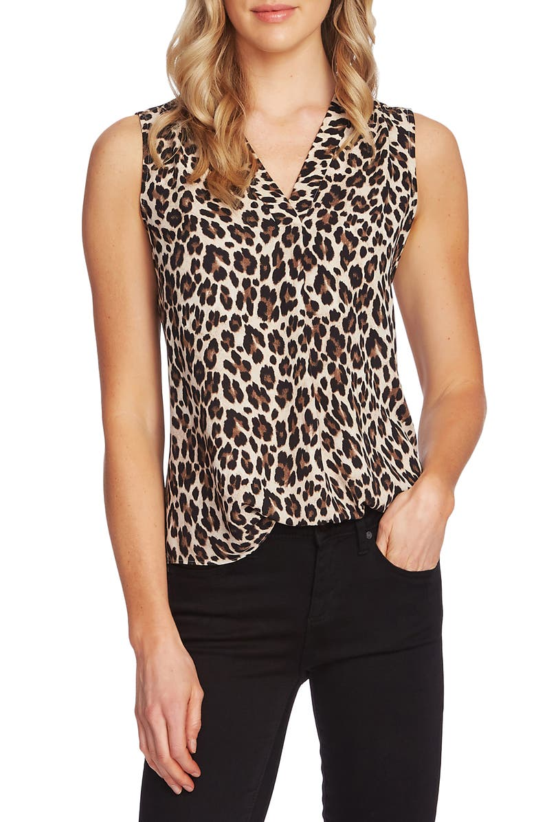 VINCE CAMUTO Print V-Neck Blouse, Main, color, RICH BLACK
