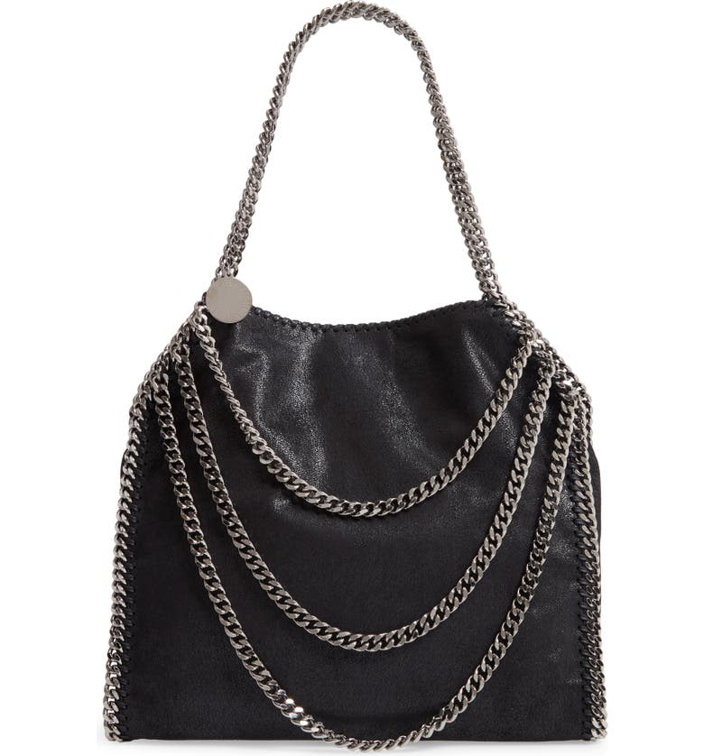 STELLA MCCARTNEY Small Falabella Shaggy Deer Faux Leather Shoulder Bag, Main, color, BLACK