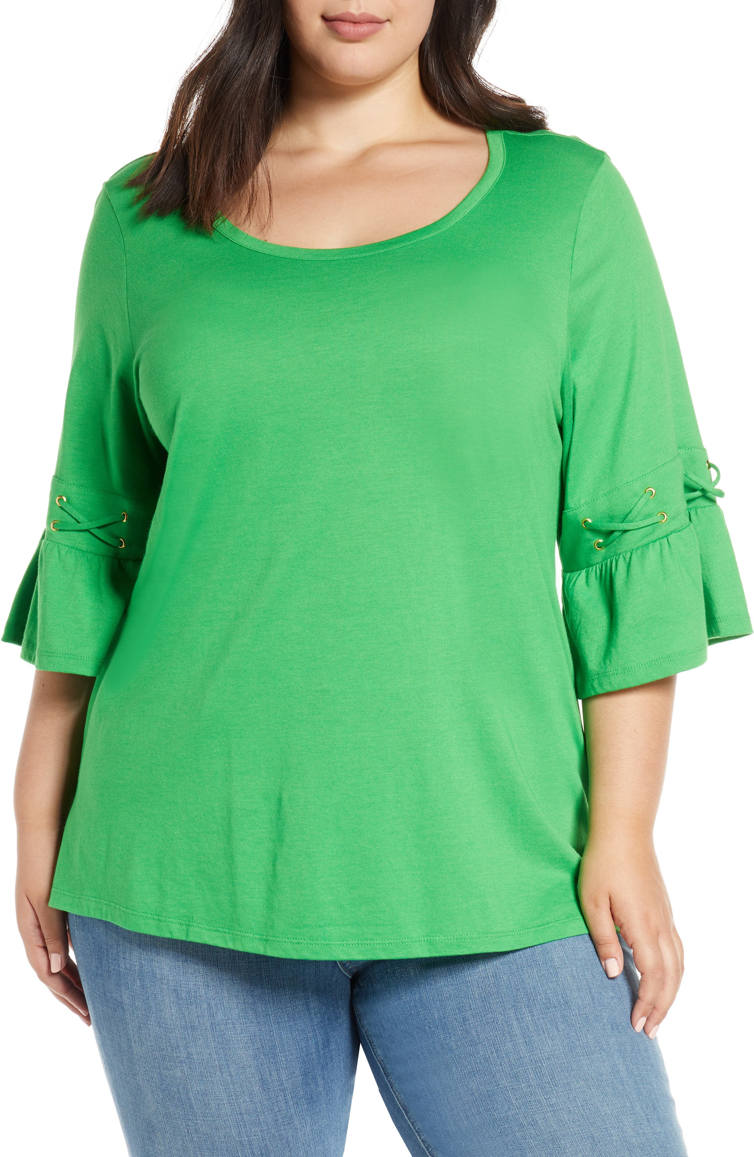 ,                             Lace-Up Sleeve Tee,                             Main thumbnail 1, color,                             CLOVER