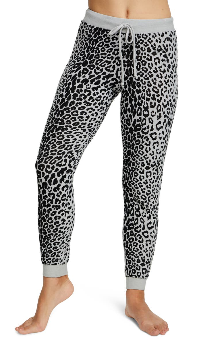 CHASER Cozy Leopard Jogger Pants, Main, color, PLATINUM