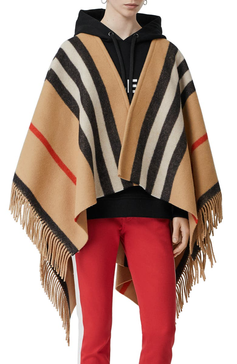 BURBERRY Stripe Fringe Wool Cape, Main, color, CAMEL