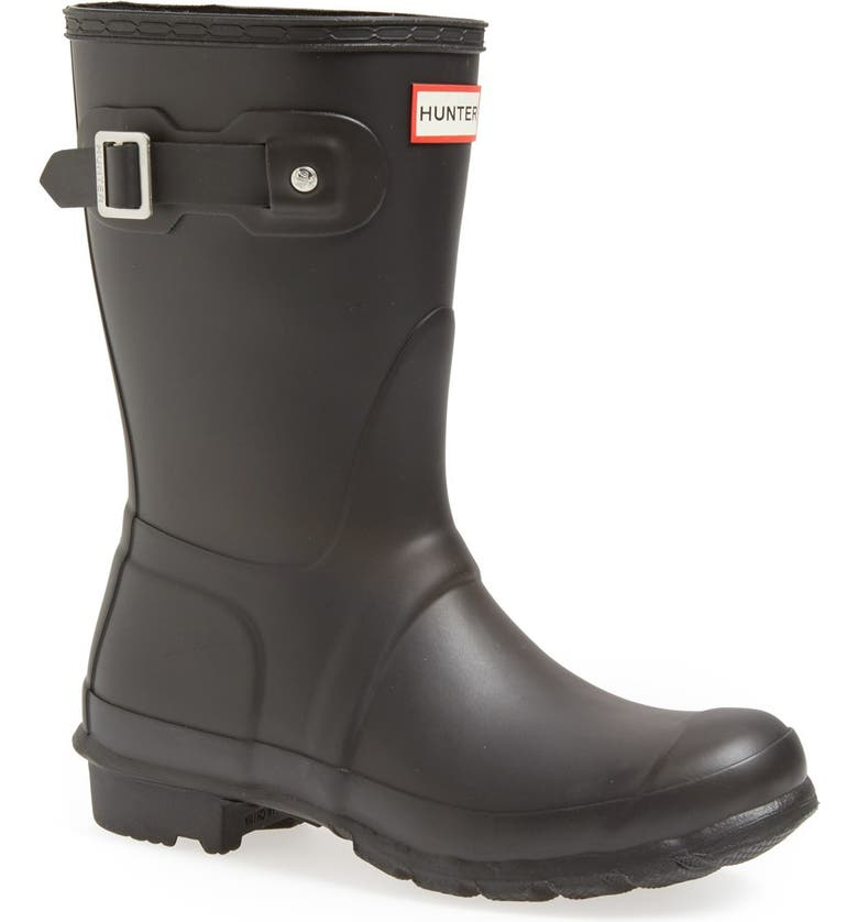 HUNTER Original Short Waterproof Rain Boot, Main, color, BLACK MATTE
