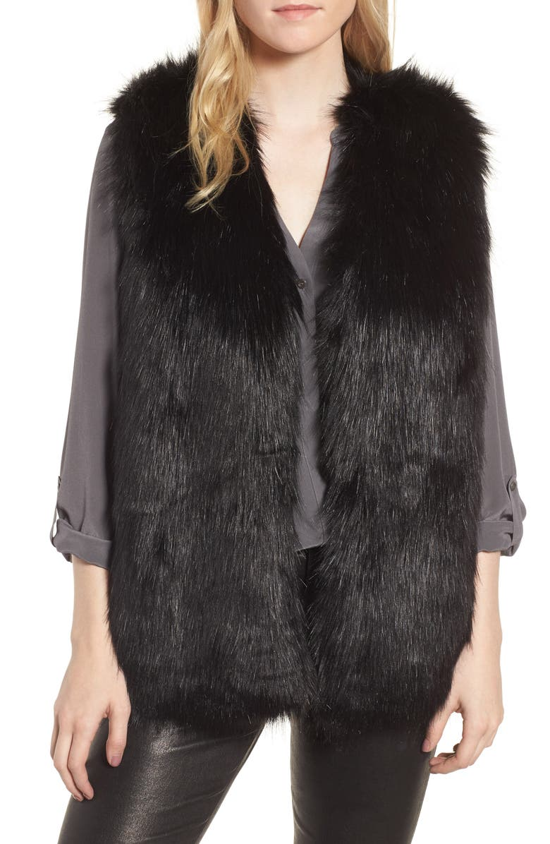 SOLE SOCIETY Faux Fur Vest, Main, color, 001