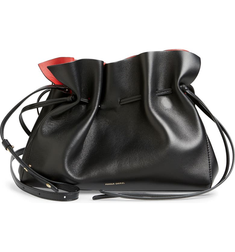MANSUR GAVRIEL Lambskin Leather Drawstring Bag, Main, color, 005