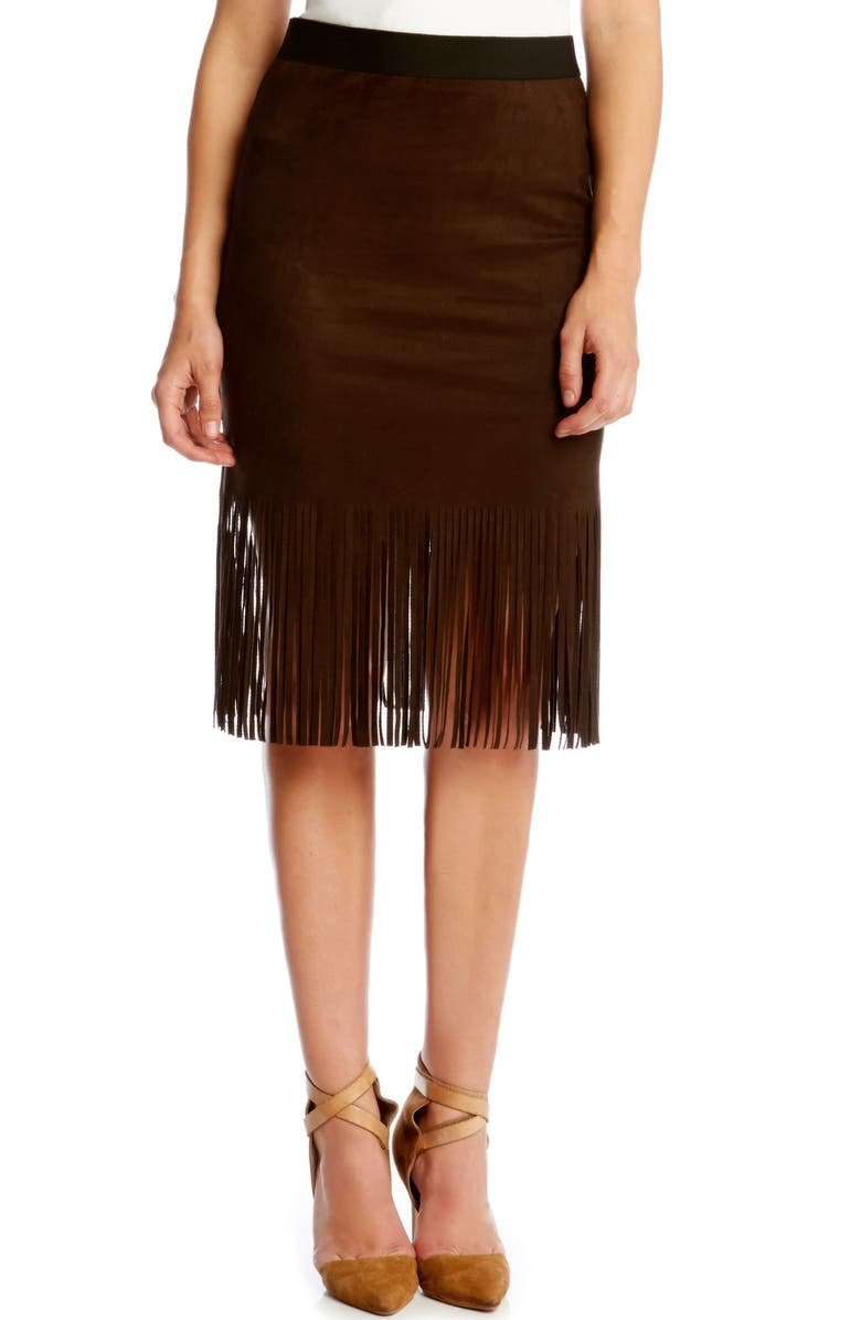 KAREN KANE Faux Suede Midi Pencil Skirt with Fringe, Main, color, 200
