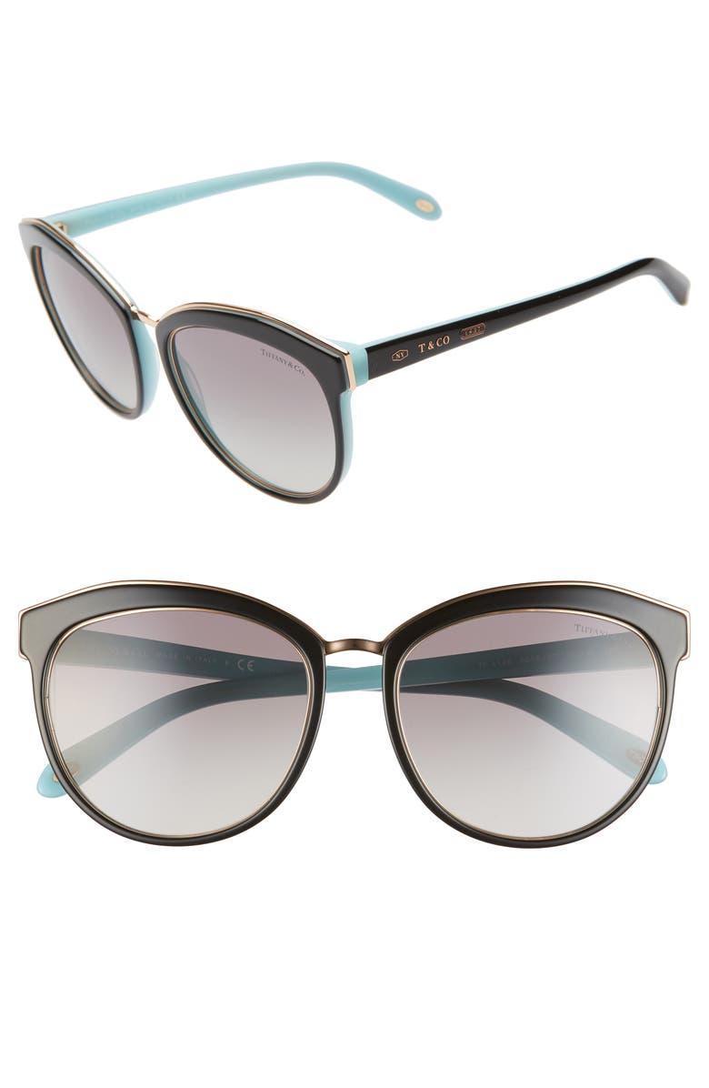 TIFFANY & CO. 56mm Cat Eye Sunglasses, Main, color, BLK/GOLD/BLUE/BLK GRAD