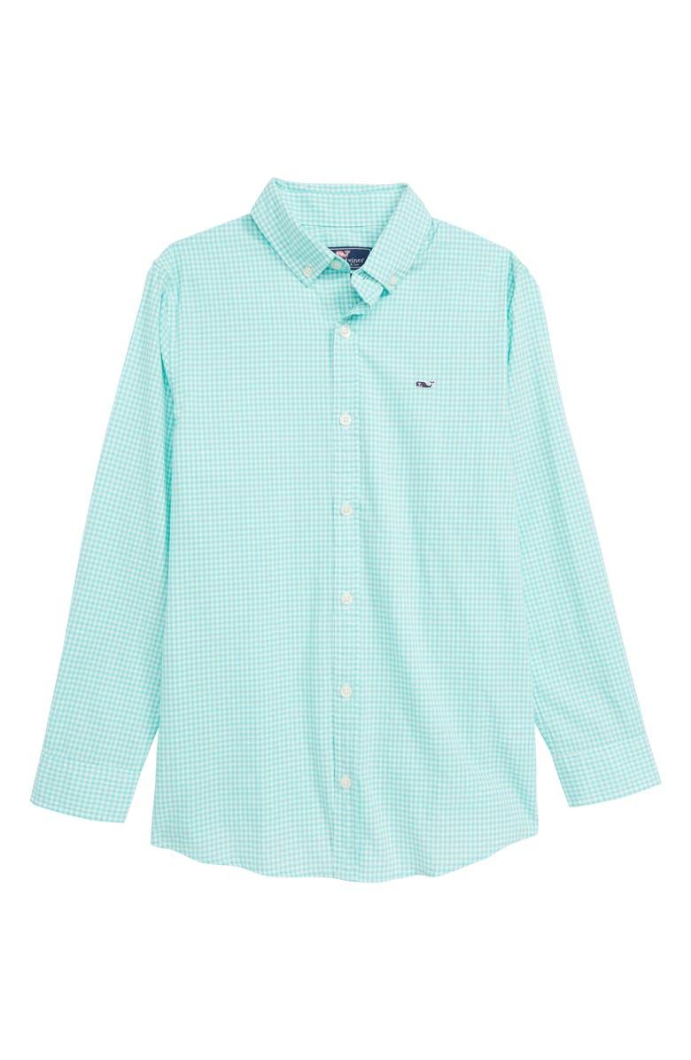 VINEYARD VINES Arawak Gingham Poplin Whale Shirt, Main, color, CAPRI BLUE
