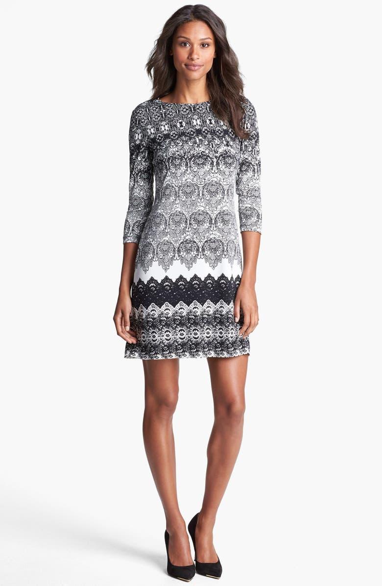 DONNA MORGAN Lace Print Shift Dress, Main, color, 002