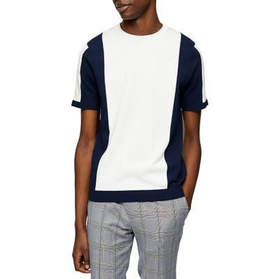 Topman Colorblock Short Sleeve Crewneck Sweater, White