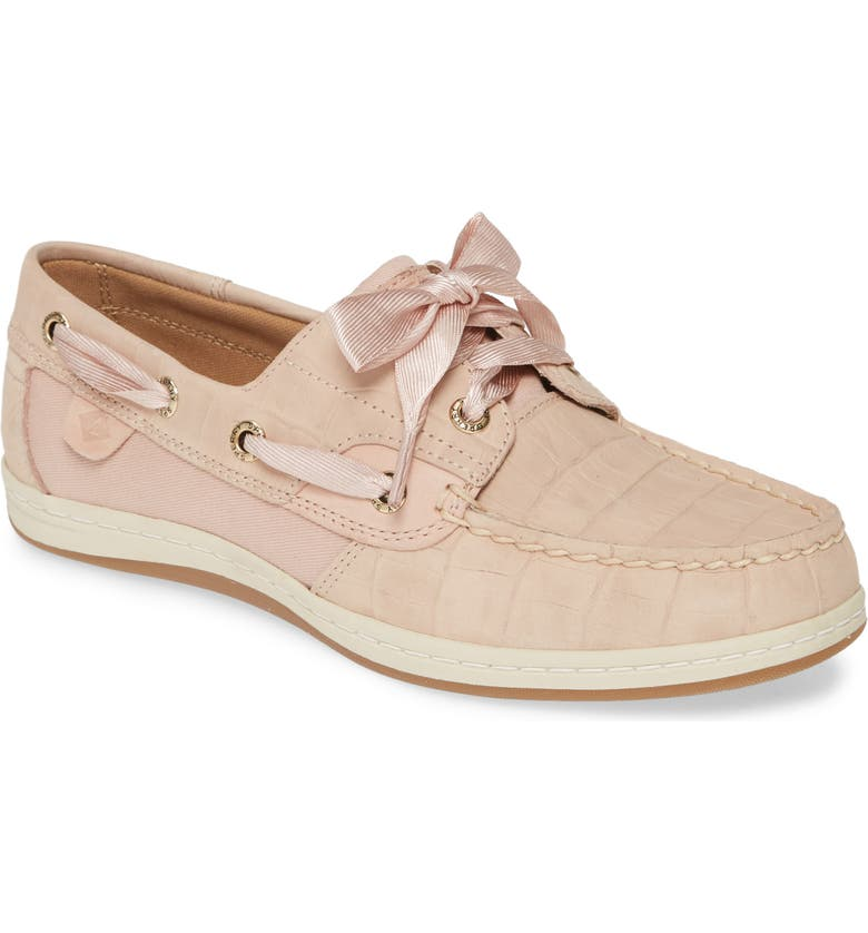 SPERRY Songfish Boat Shoe, Main, color, BLUSH NUBUCK LEATHER