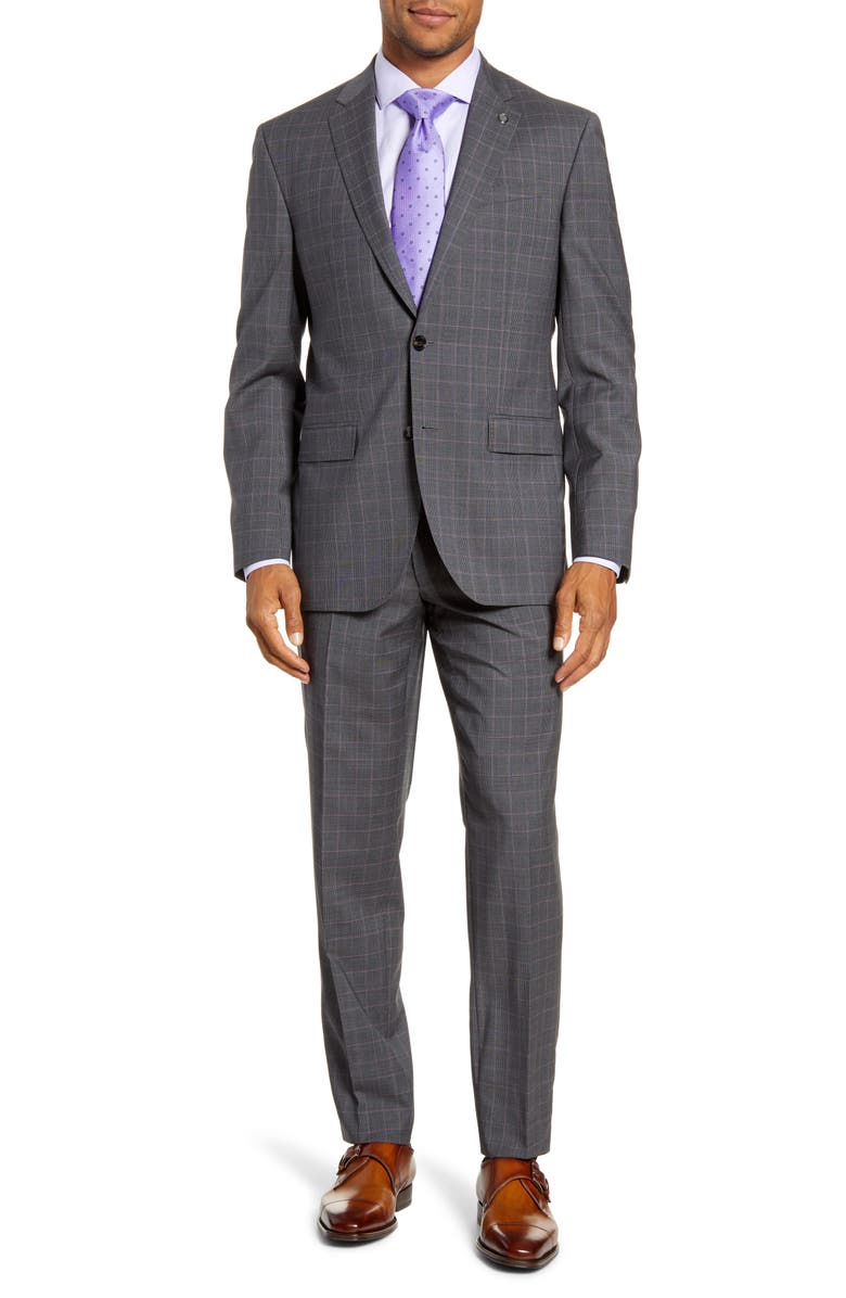 TED BAKER LONDON Jay Trim Fit Plaid Wool Suit, Main, color, GREY