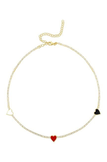 Image of Sphera Milano 18K Yellow Gold Plated Sterling Silver CZ Heart Choker Necklace
