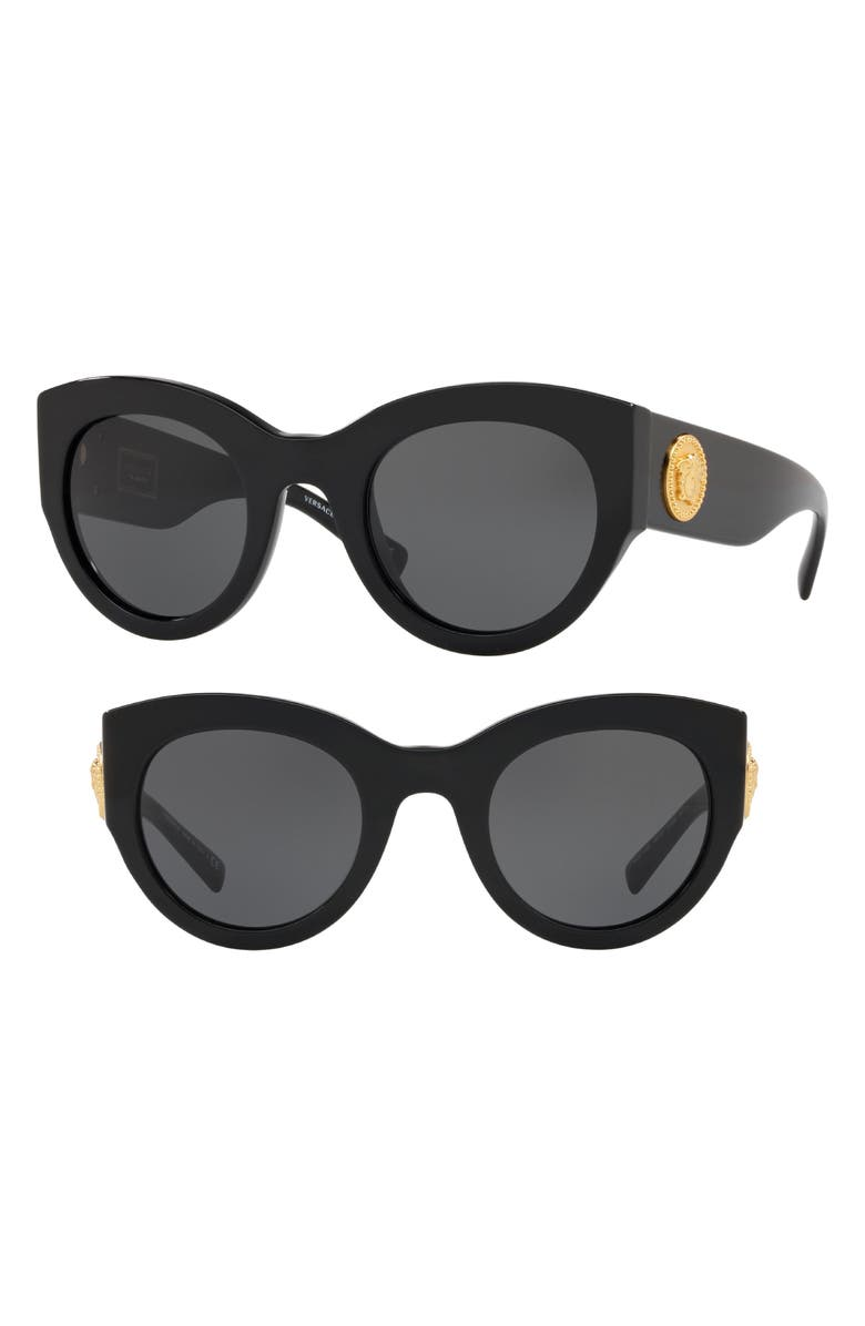 VERSACE Tribute 51mm Cat Eye Sunglasses, Main, color, 001
