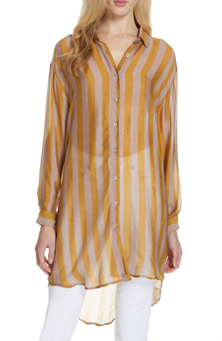 MES DEMOISELLES Hawai Long Silk Shirt, Main, color, 701