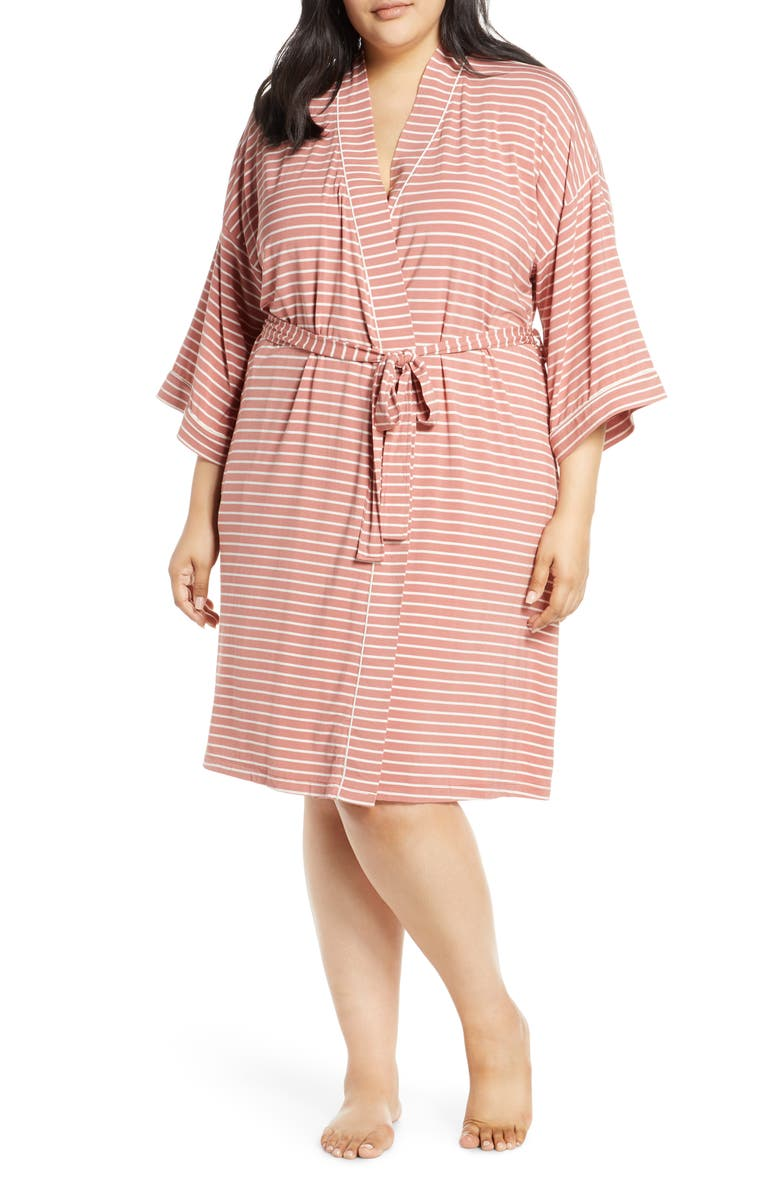NORDSTROM LINGERIE Moonlight Jersey Robe, Main, color, PINK CANYON STRIPE
