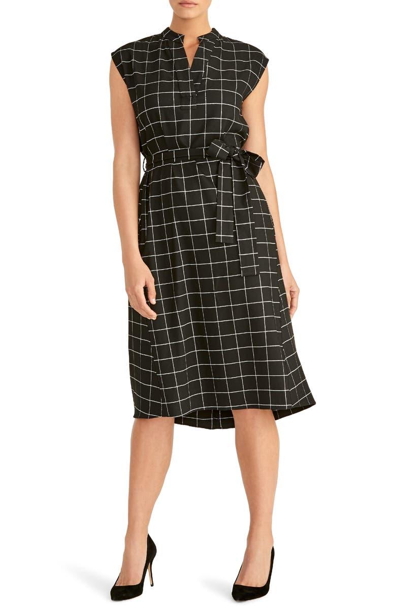 RACHEL ROY COLLECTION Nanette Tie Waist Dress, Main, color, BLACK COMBO