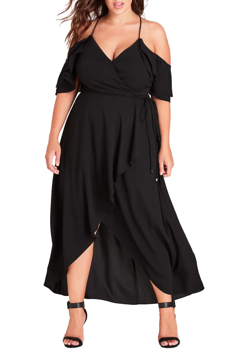 CITY CHIC Miss Jessica Maxi Dress, Main, color, BLACK