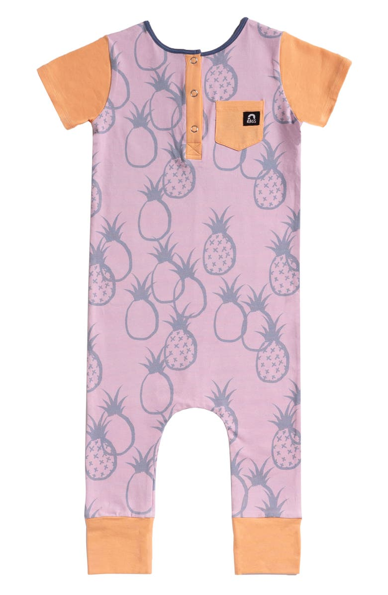 RAGS Pineapple Short Sleeve Henley Romper, Main, color, ORCHID PINEAPPLE