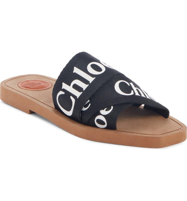 CHLOÉ Logo Slide Sandal, Main, color, BLACK