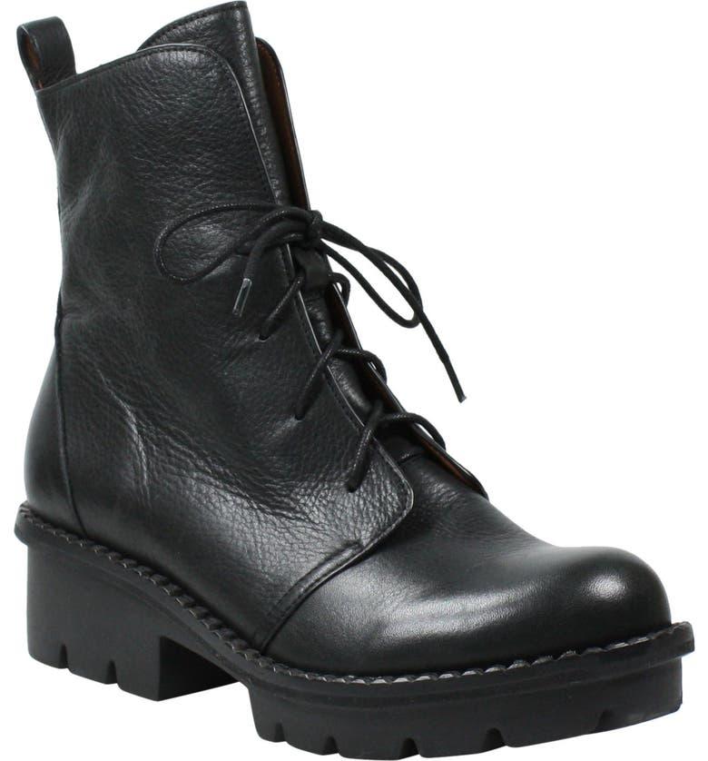 L'AMOUR DES PIEDS Fruma Lace-Up Boot, Main, color, BLACK