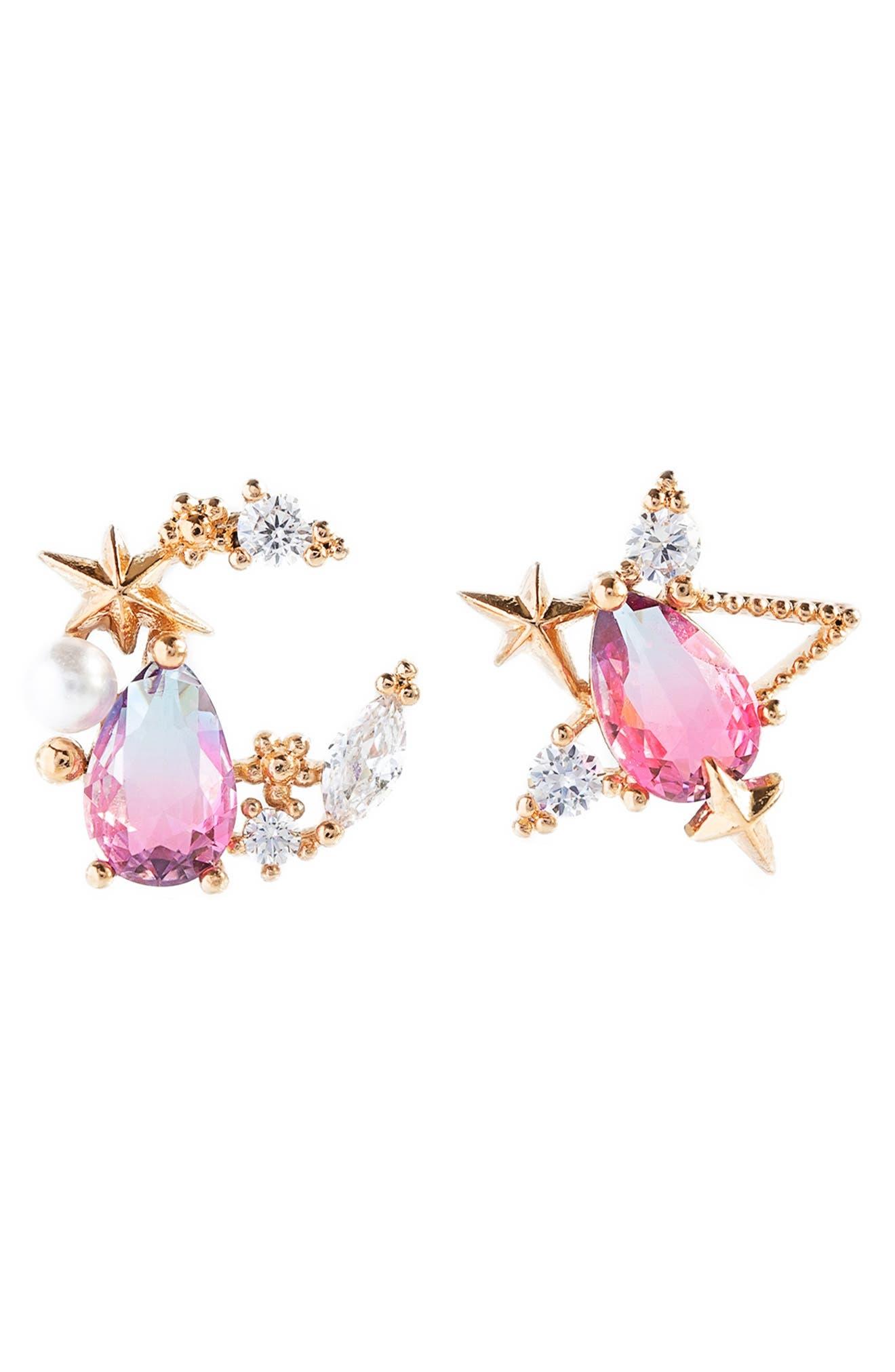 Aurora Mismatched Moon & Star Stud Earrings