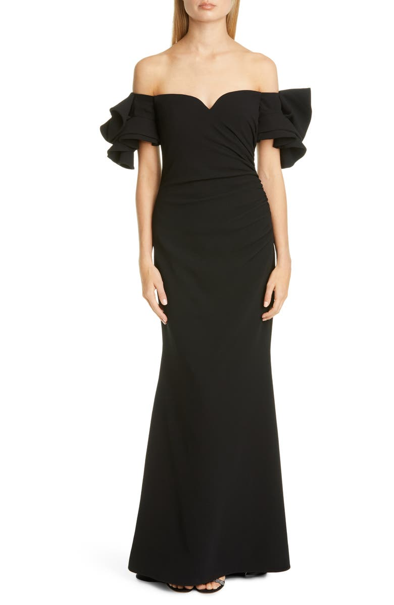 BADGLEY MISCHKA COLLECTION Badgley Mischka Origami Off the Shoulder Gown, Main, color, BLACK