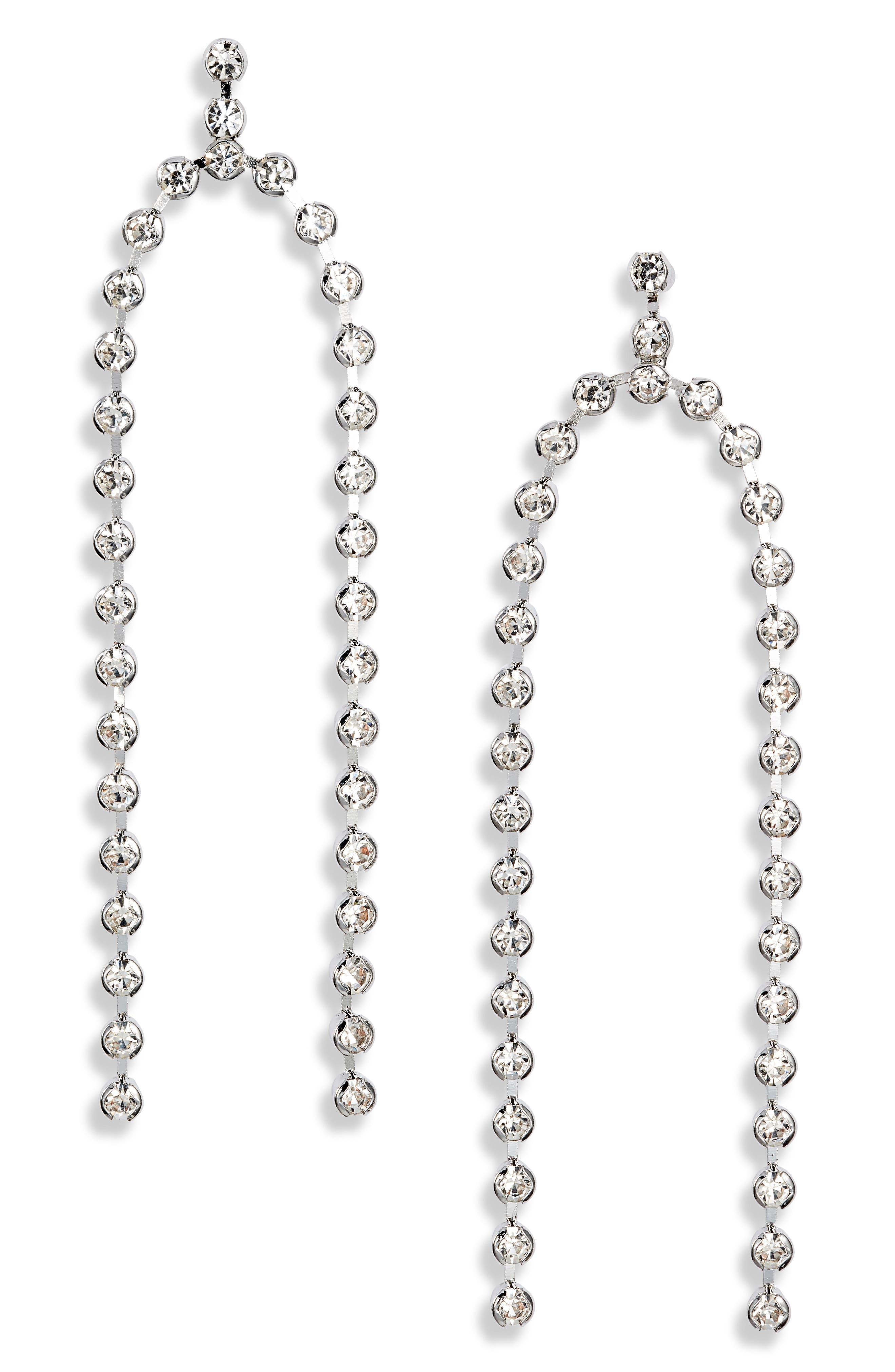Crystal Double Row Drop Earrings