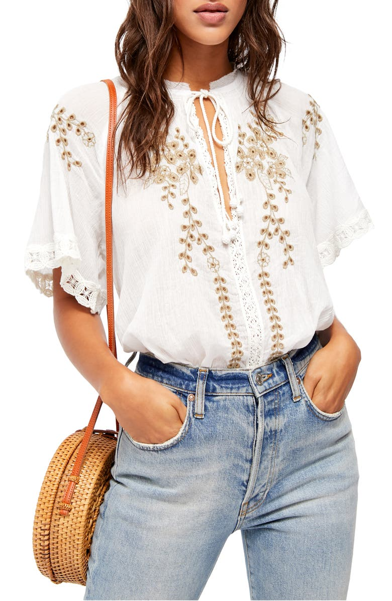 FREE PEOPLE Dahlia Embroidered Blouse, Main, color, 103