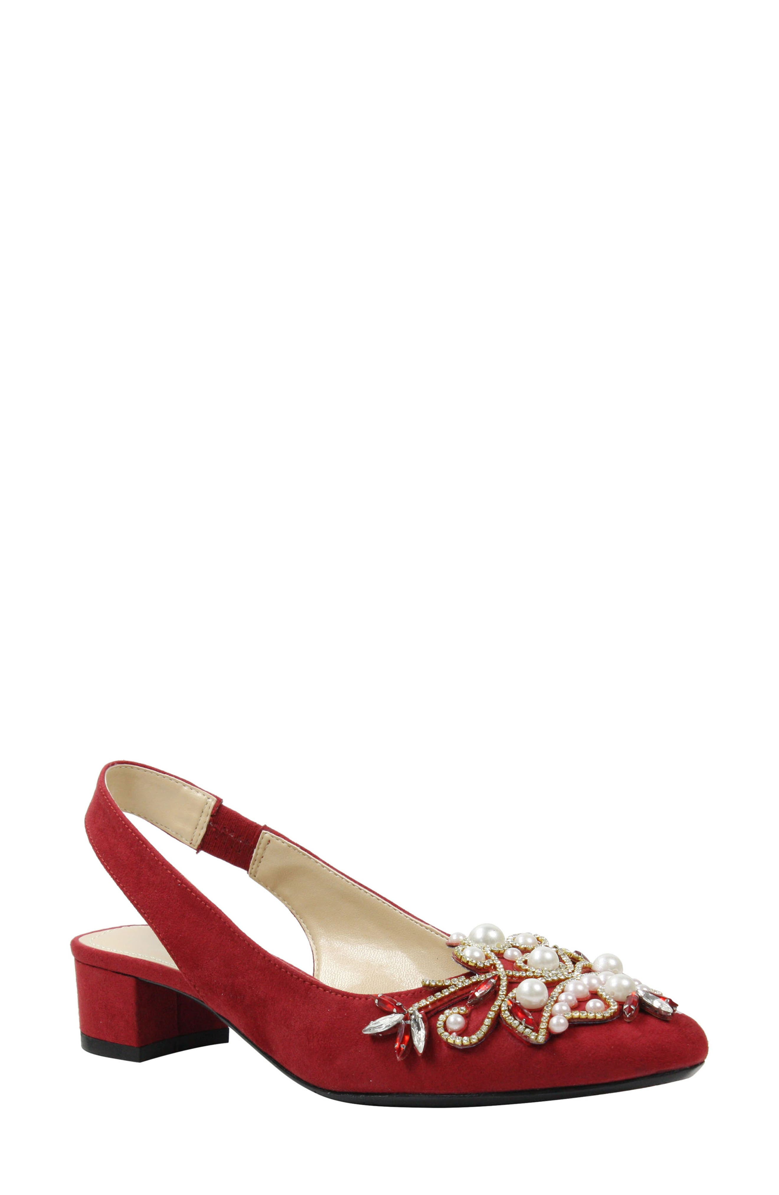 J. Renee Delroy Embellished Slingback Pump B - Red
