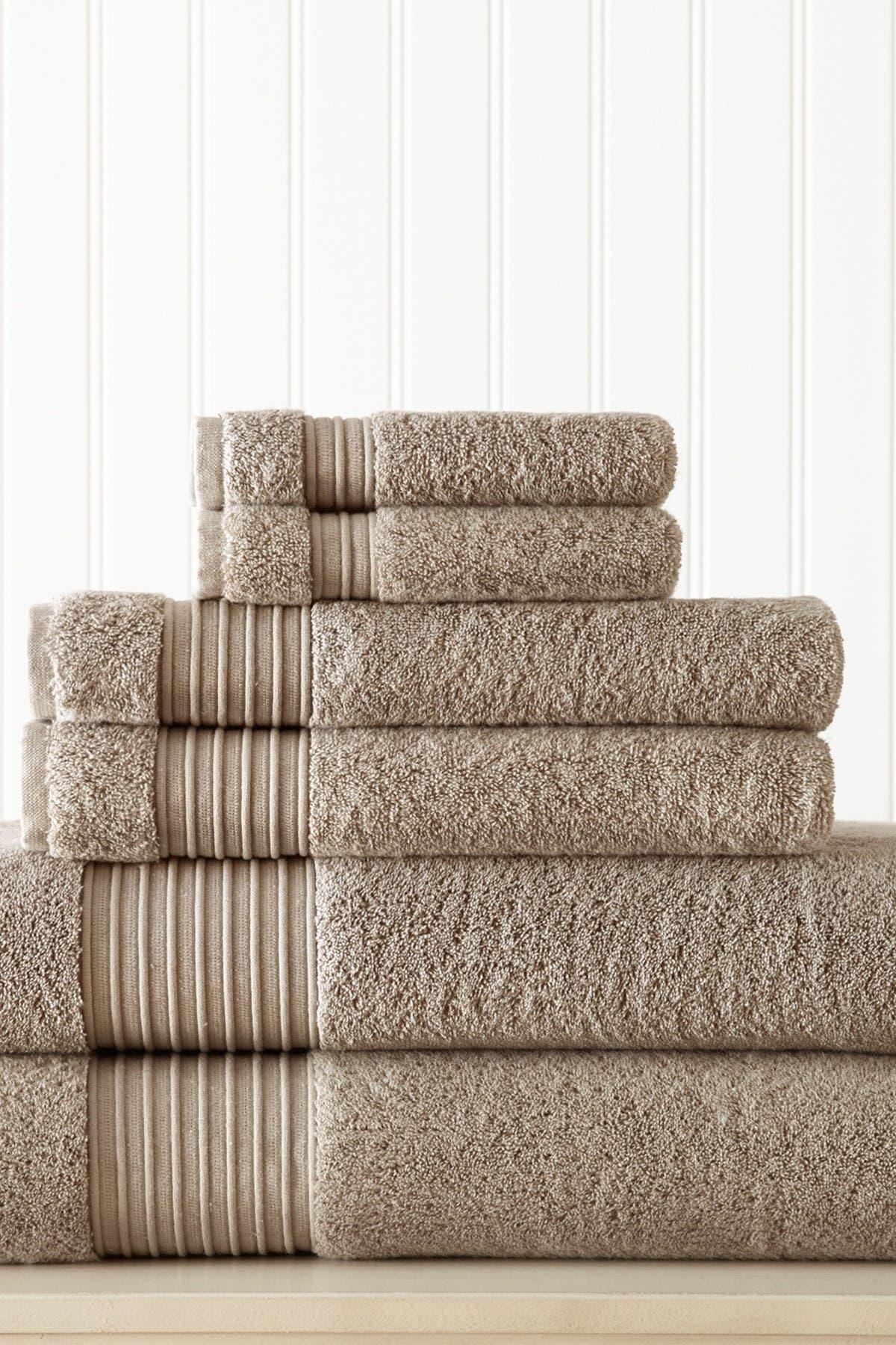 Image of Modern Threads 6-Piece Turkish Cotton Towel Set - Taupe