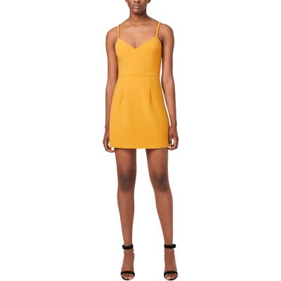 French Connection Whisper V-Neck Minidress, Yellow