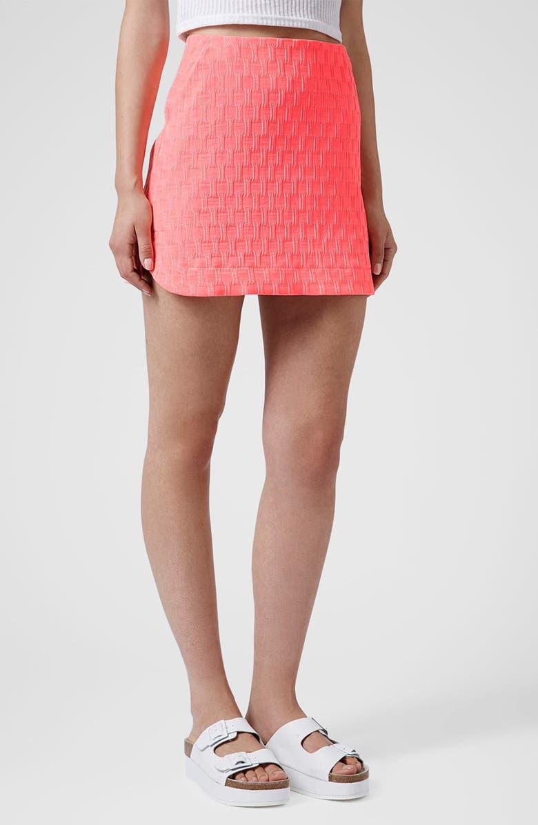 TOPSHOP Textured Curved Hem Miniskirt, Main, color, 650