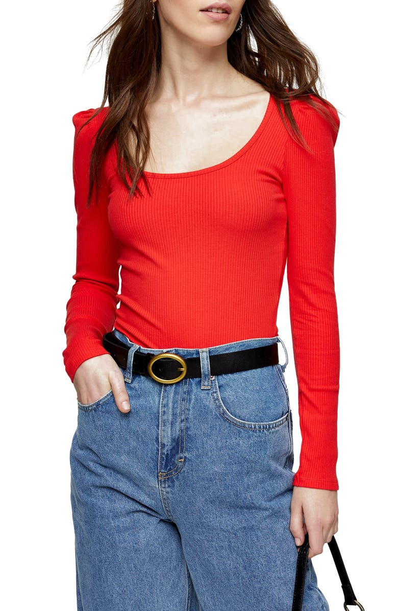 TOPSHOP Square Neck Puff Sleeve Top, Main, color, RED