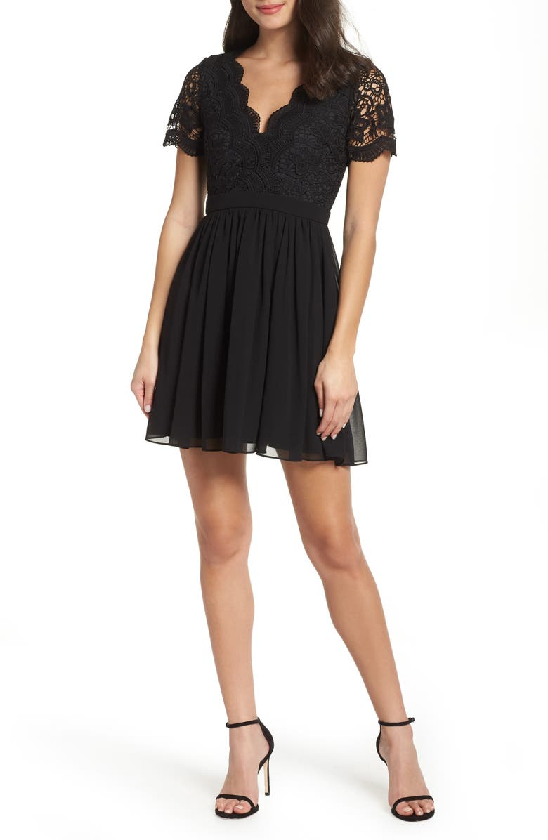 LULUS Angel in Disguise Lace & Chiffon Party Dress, Main, color, BLACK
